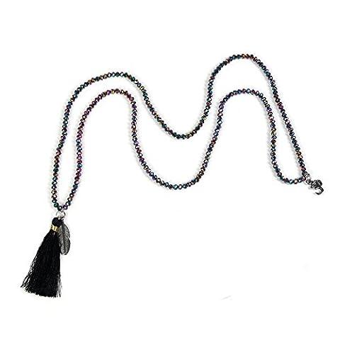 Colorful Crystal Beaded Long Necklace Bohemian Black Tassel Feather Pendant Women Strand Bracelet - Crystal Wrap Necklace