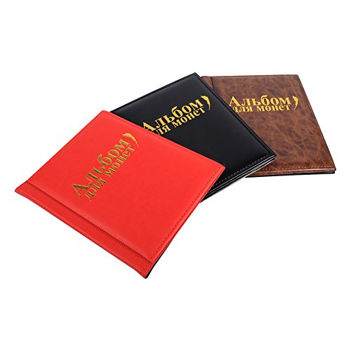 Coin Album Book-10 Pages 250 Pockets World Coin Collection Book PU Penny Pocket Coin Storage Folder Money Collecting Holder Book New Design(Brown)