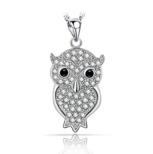 """Everbling Owl Pendant 925 Sterling Silver with 18"""" Silver Chain Necklace"""