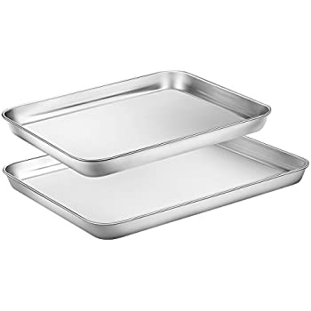 Toaster Oven Tray Pan, Zacfton Baking Sheet Stainless Steel Cookie Sheet Rectangle Size, Non Toxic & Healthy,Superior Mirror Finish & Easy Clean, Dishwasher Safe (12inch 10inch)
