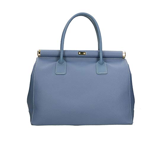 Blu Bag Jeans Mano Made Chicca A Cm Pelle In 35x28x16 Italy Borse Borsa 5qnqfW7Pw