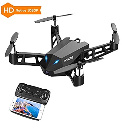 WiMiUS DR10 WiFi PFV Drone with 1080P HD Camera Live Video RC Quadcopter with APP Control, Altitude Hold, 360° Flip, One Key Take Off/Landing 2.4G 4CH 6 Axis Gyro for Beginners and Kids Black from WiMiUS