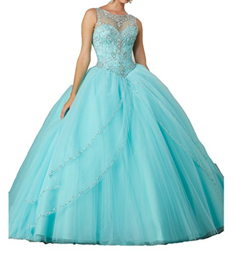 Cinderela Dress (Illusion Jewel Neck Prom Dresses Crystals Ball Gown Quinceanera Dress for Sweet 16 Girls 0 US Aqua)