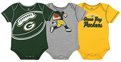 Outerstuff NFL Boys Newborn and Infant Assorted Team 3 Pack Creeper Set, Green Bay Packers 3-6 Months - Green Packers Piece 3 Bay