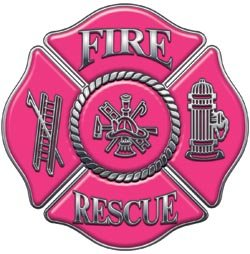 Fire Rescue Maltese Cross Decal - Pink - 4
