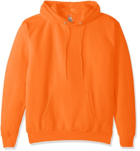 Hanes Men's Pullover EcoSmart Fleece Hooded Sweatshirt, Safety Orange, X Large