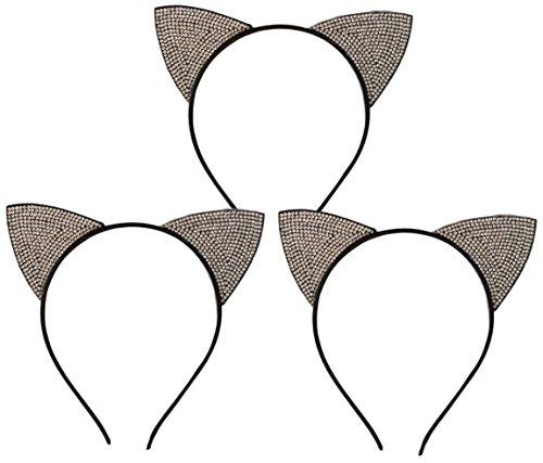 New 3 Pack Cat Ears Winter Formal Dance Headband Designer Fashion Beauty Cute Silly Stocking Stuffer Gift Idea Under 10 Dollars for Best Girlfriend Teen Girl Her Women BFF from ()