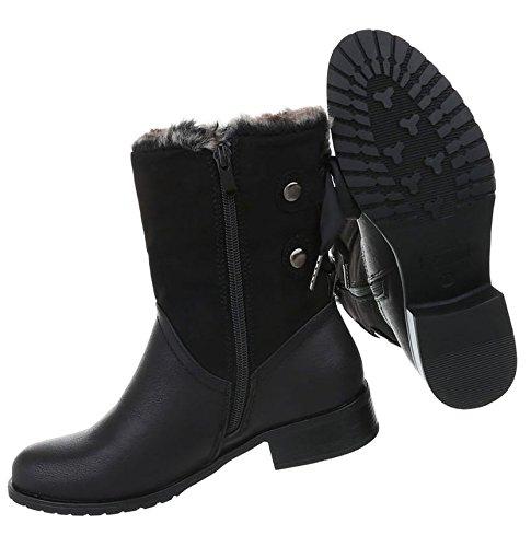 Boots Schuhe Optik Used Damen Stiefeletten Schwarz w1HxIvFaq