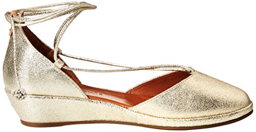 Gentle Souls Women's Nerissa Low Wedge with Laceup Pom Pump, Medium Soft Gold