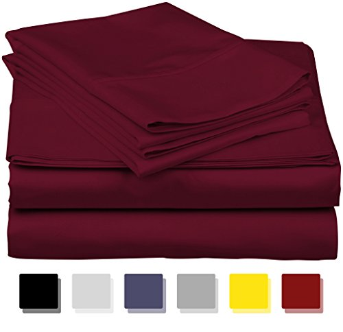 True Luxury 1000-Thread-Count 100% Egyptian Cotton Bed Sheets, 4-Pc Queen Burgundy Sheet Set, Single Ply Long-Staple Yarns, Sateen Weave, Fits Mattress Upto 18'' Deep ()