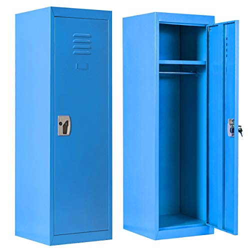 (Kids Storage Locker Steel Safe Storage Kids Toy Gym Room Locker Keeper(Blue))