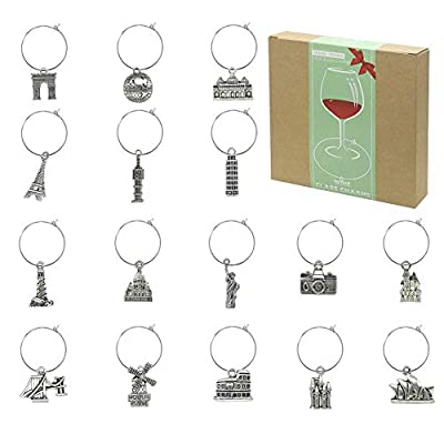 16 Piece Wine Glass Charms,Wine Tasting Party Decoration Supplies Gift