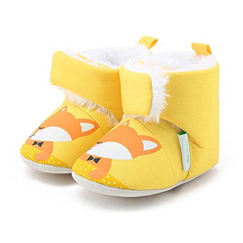 Huhu833 Kinder Mode Junge Mädchen Schuhe Soft Winter Baby Stiefel Karikatur Anti-Rutsch Kleinkind Baumwolle Stiefel Gelb
