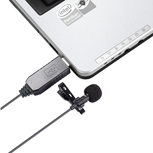 USB Microphone, Punasi USB Light-weight Lavalier Clip-on Lapel Computer Microphone Mic for Laptop PC Computer & Mac