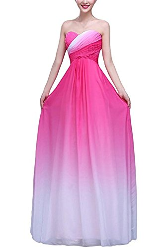 BRL Long Line Gradient Women's Hot Dresses A Chiffon Gowns MALL Prom Pink Party rTwvZqAarW