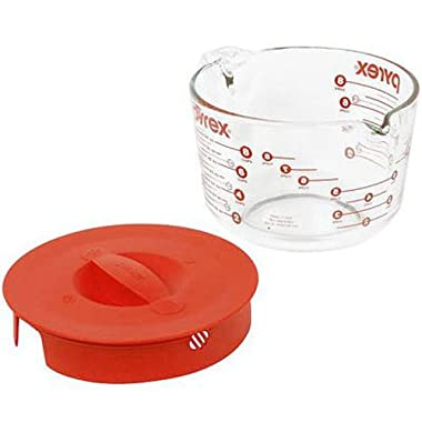 Pyrex 1055161 Prepware 8 Cup, Clear with Red Lid and Measurements