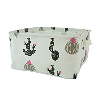 Homiak Canvas Fabric Foldable Organizer Storage Basket with Handle, Collapsible and Convenient for Nursery and Babies Room (Black Cactus)