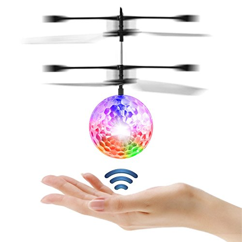 ER ETPARK RC Flying Ball Crystal Flashing LED Light Flying Ball RC Toy RC Infrared Induction Helicopter Heliball for Kids, Teenagers Colorful Flyings for Kid's Toy (Transparent)