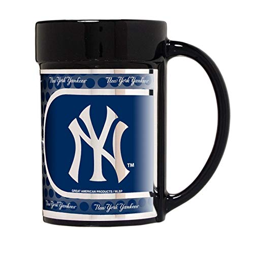 Great American Products MLB New York Yankees Coffee Mug Set with Metallic Graphics (2-Piece), 15-Ounce, Black