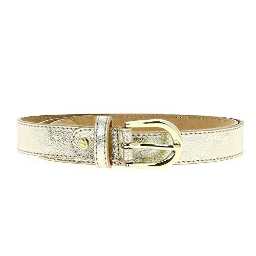 FASHIONGEN - Women genuine Italian leather belt with golden Buckle, HACENA - Golden, 105 cm (41.30 in) / Trousers 17 to 20