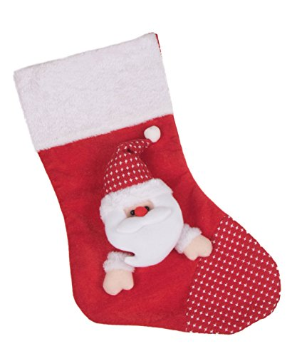 (Stuffed Santa Claus Plush Christmas Stocking by Clever Creations | Red with White Fur Trim | Dimensional Face and Hat | Patchwork Toe | Soft Plush Felted Cloth | Festive Holiday Décor | Measures 16.5