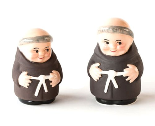 180D Monks Retro Ceramic Salt and Pepper Shakers