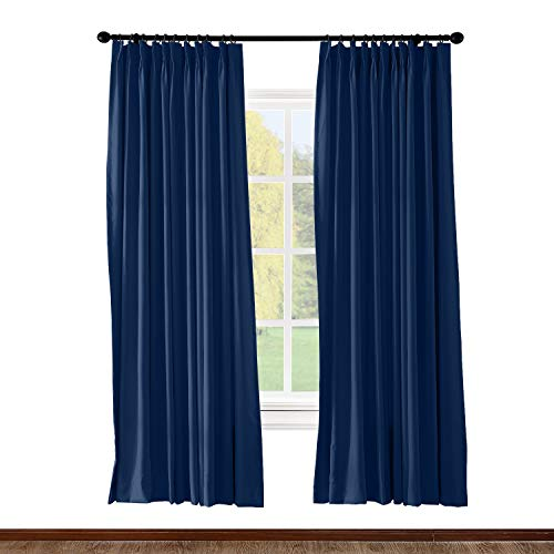 ChadMade Pinch Pleated Curtain 52W x 84L Inch Solid Thermal Insulated Blackout Patio Door Panel Drape for Traverse Rod and Track, Navy (1 ()