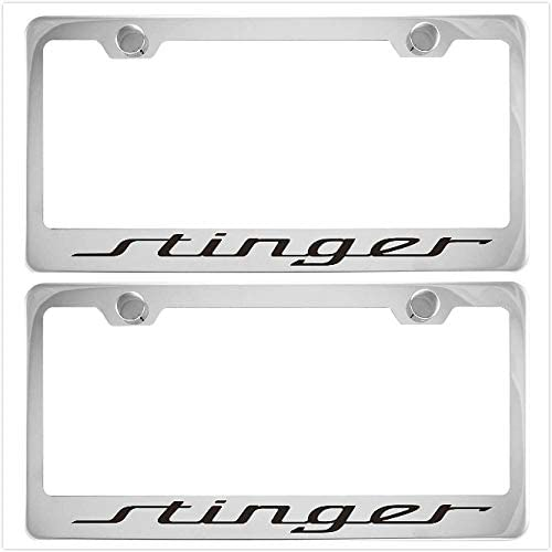 2 Vestian Stinger Car Chrome Silver License Plate Frame Cover Holder with Caps Screws Rust Free Stainless Steel