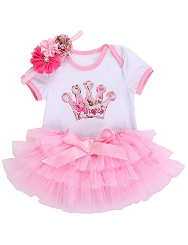 Crown Skirt - Smilsheep 1st Birthday Baby Girl Summer Clothes Elegantes Outfit Skirt Headband Suit Pink Crown 7-12Months/26-31''/16.3-24.5 lb
