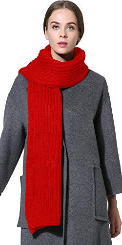 (Women Men Winter Thick Cable Knit Wrap Chunky Warm Scarf All Colors Red Hor)