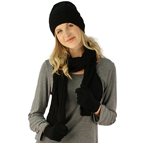 Cable Knit Long Scarf (Ladies 3pc Winter Soft Cable Knit Beanie Skull Hat Long Scarf Gloves Set Black)