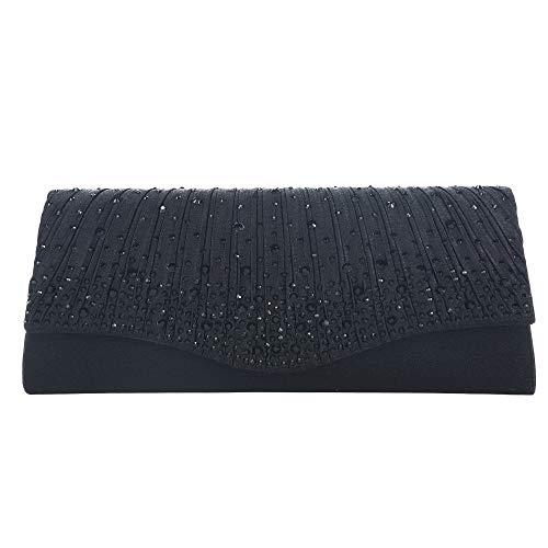 (Evening Bags Clutches for women Satin Wedding Purse Silver Chain Strap Shoulder Bag Ladies Party Wallet Handbag (Black))