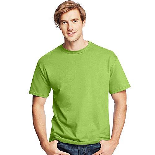 - Hanes by Men's Tagless ComfortSoft Crewneck T-Shirt_Lime_L