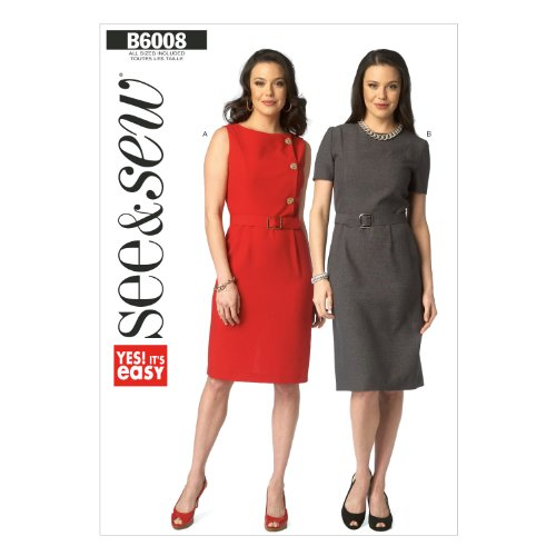 Butterick Patterns B60080A0 Misses' Dress and Belt Sewing Template, Size A (All Sizes In One (Gabardine Stretch Skirt)