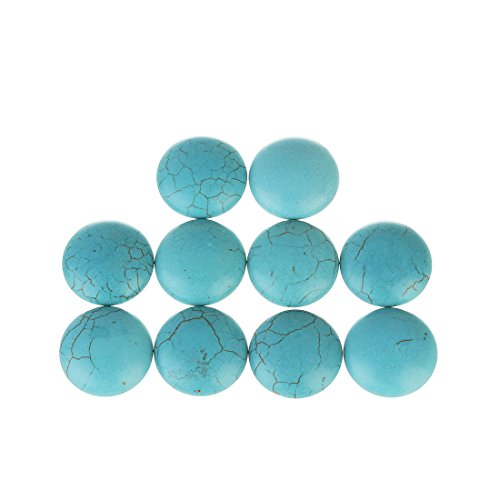 Linsoir Beads Adorable Blue Synthetic Turquoise Stone Cabochons December Power Stone Jewelry Round Flat-Back Design No Hole Dia=30mm Pack of 10