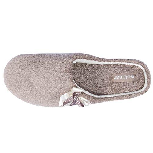 tacón Isotoner Topo para con Zapatillas chinelas mujer 6qPwAqgE