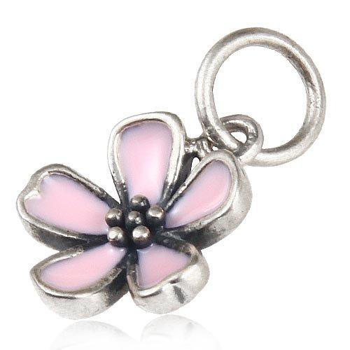 Ollia Jewelry Antique 925 Sterling Silver European Style Dangle Beads Sakura Blossom Charm Japanese Flowering Cherry Charm Pink Enamel Charms - Blossom Dangle
