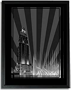 Address Hotel Down Town- Black And White No Text F09-nm (a4) - Framed