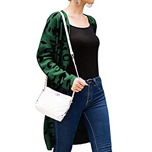 Angashion Women's Long Sleeves Leopard Print Knitting Cardigan Open Front Warm Sweater Outwear Coats 318Green M