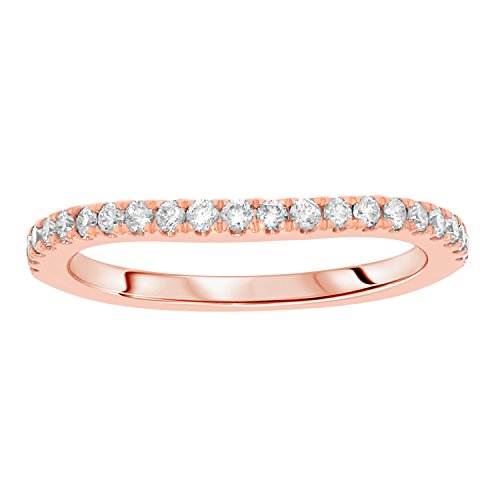 1/4 cttw Round Cut White Real Diamond Wedding Anniversary Band Ring Solid 14k Gold (rose-gold) by eSparkle