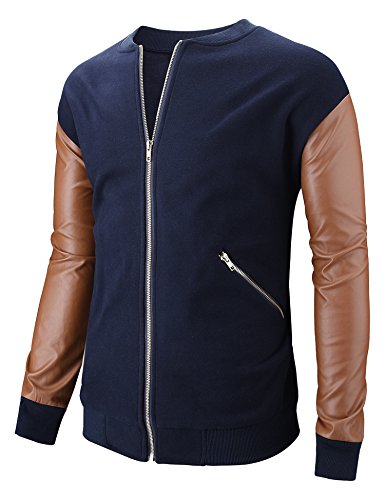 Hasuit Mens Outdoor Autumn Stand Collar Solid Varsity Baseball Bomber Jacket (Pu Solid Stand Collar)