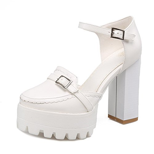 High Womens Buckle Pumps Closed Solid Toe Round Shoes Heels AmoonyFashion Materials White Blend EOUEqn
