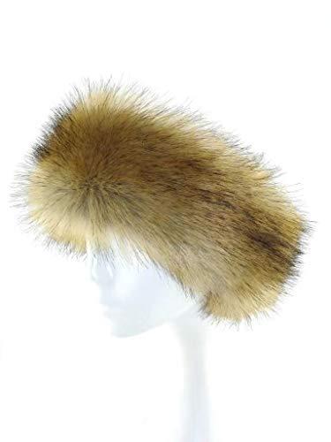 Fur Winter Faux Fox Raccoon Mink Fur Headwrap Headband Earwarmer Hat BRN