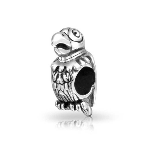 Bling Jewelry Parrot Animal Bead Charm .925 Sterling Silver