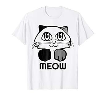 Amazon.com: Meow - Camiseta para amantes de los gatos ...