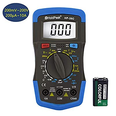 Holdpeak HP-36C Multimeter,4000 Counts Digital Multimeter with Ohm Volt Amp and Diode Voltage Tester,hFE,AC/DC Voltage & Curent,Resistance,Capactiance,Frequency,Voltage Tester(200mA~200V/200?A~10A)