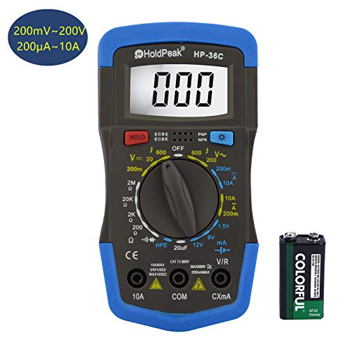 Holdpeak HP-36C Multimeter,4000 Counts Digital Multimeter with Ohm Volt Amp and Diode Voltage Tester,hFE,AC/DC Voltage & Curent,Resistance,Capactiance,Frequency,Voltage Tester(200mA~200V/200μA~10A)