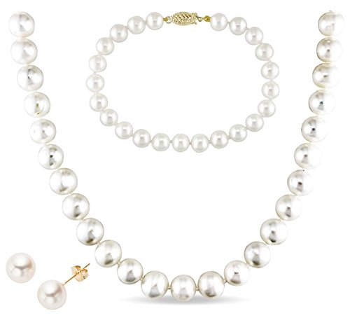14k Gold 8-9mm White Freshwater Cultured AA-Quality Pearl Necklace, Bracelet and Earrings (Honora Set Necklace)