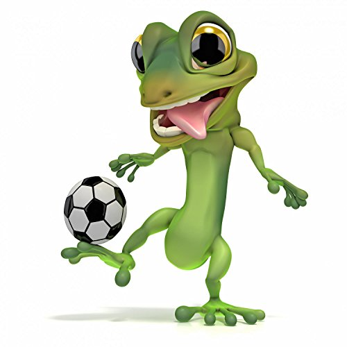Wallmonkeys Gecko Kicking Soccer Ball Peel and Stick Wall Decals WM55566 (24 in H x 24 in W)