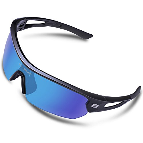 RIVBOS Polarized Sports Sunglasses Sun Glasses with 4 Interchangeable Lenses for Men Women Baseball Cycling Running TR90 Frame RB832 (Black Ice Blue Lens) - Glasses Special